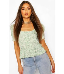 ditsy floral peplum puff sleeve blouse, sage