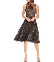 dress the population shane high neck fit & flare dress, size xx-small in black/nude at nordstrom
