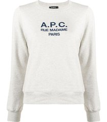 a.p.c. long sleeve logo sweater - grey