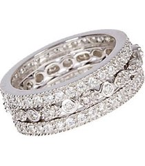 3-row crystal and sterling silver band ring