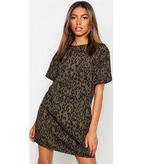 animal leopard print shift dress, khaki