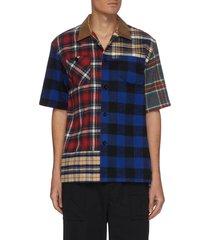 flannel plaid patchwork shirt