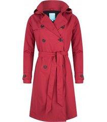 happyrainydays regenjas long trenchcoat contrast sideseam robyne dark red-s