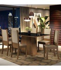 conjunto sala de jantar madesa emma mesa tampo de vidro com 6 cadeira marrom - marrom - dafiti
