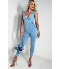 akira explain to me denim jumpsuit
