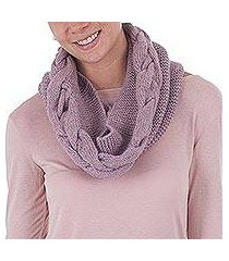 100% baby alpaca neck warmer, 'lilac patterns' (peru)