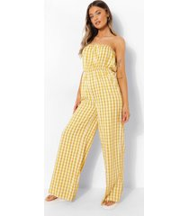 strapless gingham wide leg jumpsuit, mustard