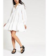 river island womens white long sleeve babydoll shirt mini dress