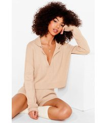 womens kni'ts cold out sweater and shorts lounge set - oatmeal