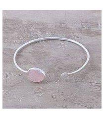 rose quartz cuff bracelet, 'pink peek' (india)