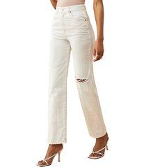 women's reformation cowboy high waist straight leg jeans, size 23 - white