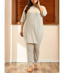 plus size letter graphic drop shoulder pajama pants set