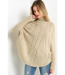 khaki chunky cable knit high-neck poncho sweater