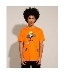 camiseta de algodão naruto manga curta gola careca laranja