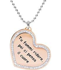 collana cuore oro rosa e strass 'tu fammi ridere poi ci pensa il cuore' per donna