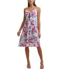 kensie cotton tropical-print a-line dress