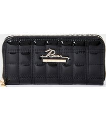 river island womens black quilted ziparound purse