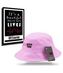 kit chapéu bucket hat com quadro personalizados grey's anatomy - rosa