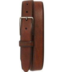 men's johnston & murphy mini embossed leather belt, size 40 - brown