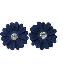 aretes azul flor topo ar-10926