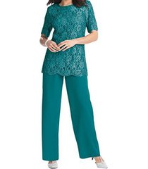 fanmu lace chiffon bodice two piece mother of the bride dress pants set teal us
