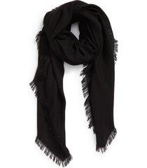 akris fringe cashmere scarf in black at nordstrom