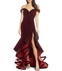 women's mac duggal off the shoulder tiered ballgown, size 0 - burgundy