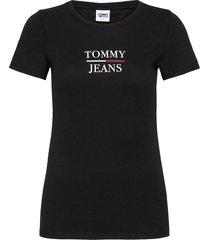 tjw skinny essential logo tee t-shirts & tops short-sleeved svart tommy jeans