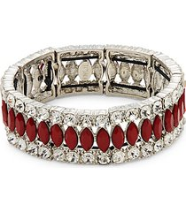 rhodium-plated & crystal bracelet