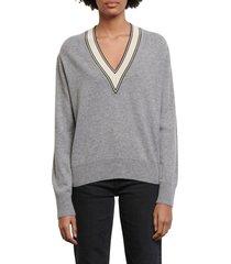 women's sandro v-neck sweater, size 4 - grey