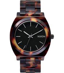 nixon the time teller acetate bracelet watch, 40mm in tortoise at nordstrom