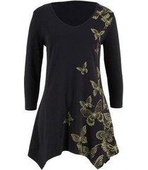 una camiseta de siete mangas para los vestidos estampados de mariposa de las mujeres-negro