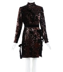 elie saab sequin velvet bow mock neck dress black/brown sz: s