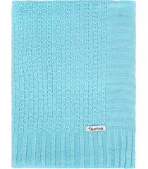 manta cobertor de berã§o tricã´ tamine luxo azul beb㪠- azul - menino - dafiti