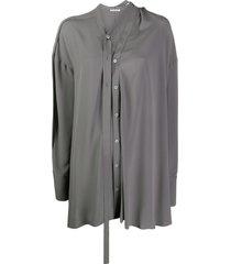 acne studios draped tie buttoned blouse - grey