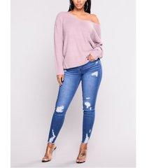 azul aleatorio rasgado diseño delgado jeans