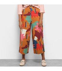 calça cantão pantacourt cropped felicidade feminina