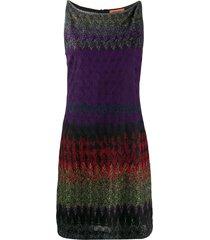 missoni sleeveless metallic-knit silk dress - purple