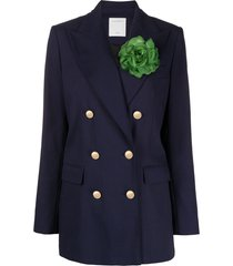 sandro paris double-breasted floral sash jacket - blue