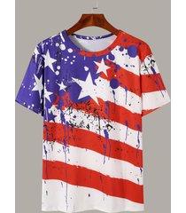 camiseta con estampado de estrellas a rayas del día de la independencia para hombre