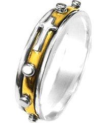 anel terço de prata c/ bronze giratório