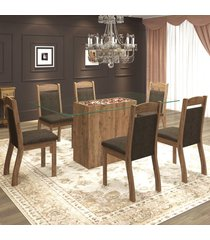 mesa de jantar 6 lugares tella dover/chocolate - mobilarte