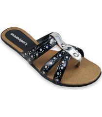 sandalia negra plata ragazzini