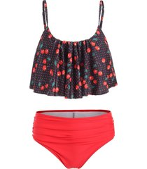 ruffle cherry print high waist bikini set