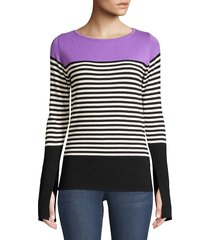 beatrice b women's colorblock stripe knit pullover - lilac - size 44 (6)