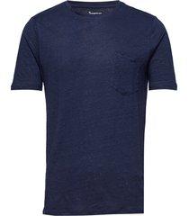single jersey linen t-shirt - gots/ t-shirts short-sleeved blauw knowledge cotton apparel