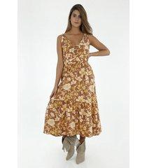 vestido para mujer tennis, largo con estampado de flores grandes
