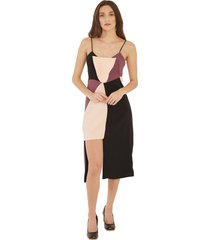 vestido faces adriana candido assimétrico preto rosa bege