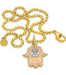 small pink enamel hamsa pendant