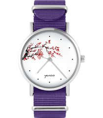 zegarek - kwitnąca wiśnia - fiolet, nylonowy